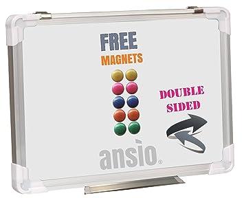 ANSIO – Pizarra blanca magnética, 60 cm x 45 cm, de doble cara, con marco de aluminio y montaje vertical u horizontal