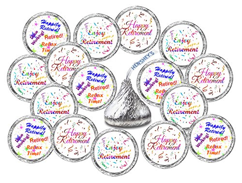 - 324 Retirement Hershey Kiss Wedding Stickers, Chocolate Drops Labels Stickers For Retirement Party, Hershey's Kisses Party Favors Decor, Happy Retirement, Enjoy Retirement kisses Stickers