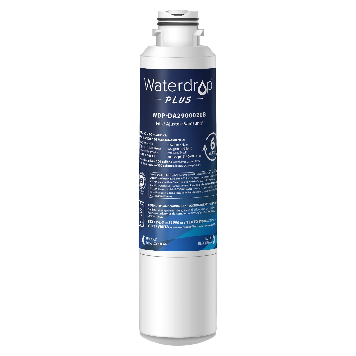 Waterdrop Plus DA29-00020B Refrigerator Water Filter, Compatible with Samsung DA29-00020B, DA29-00020A, HAF-CIN/EXP, 46-9101, Reduces Lead, Chlorine, Cyst, Benzene and More, NSF 401&53&42 Certified