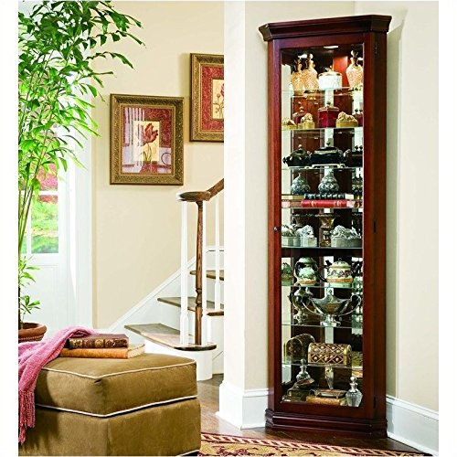 Cabinet Shelf Corner Curio Eight (Bowery Hill Curios 8 Shelf Corner Cabinet in Victorian Cherry)