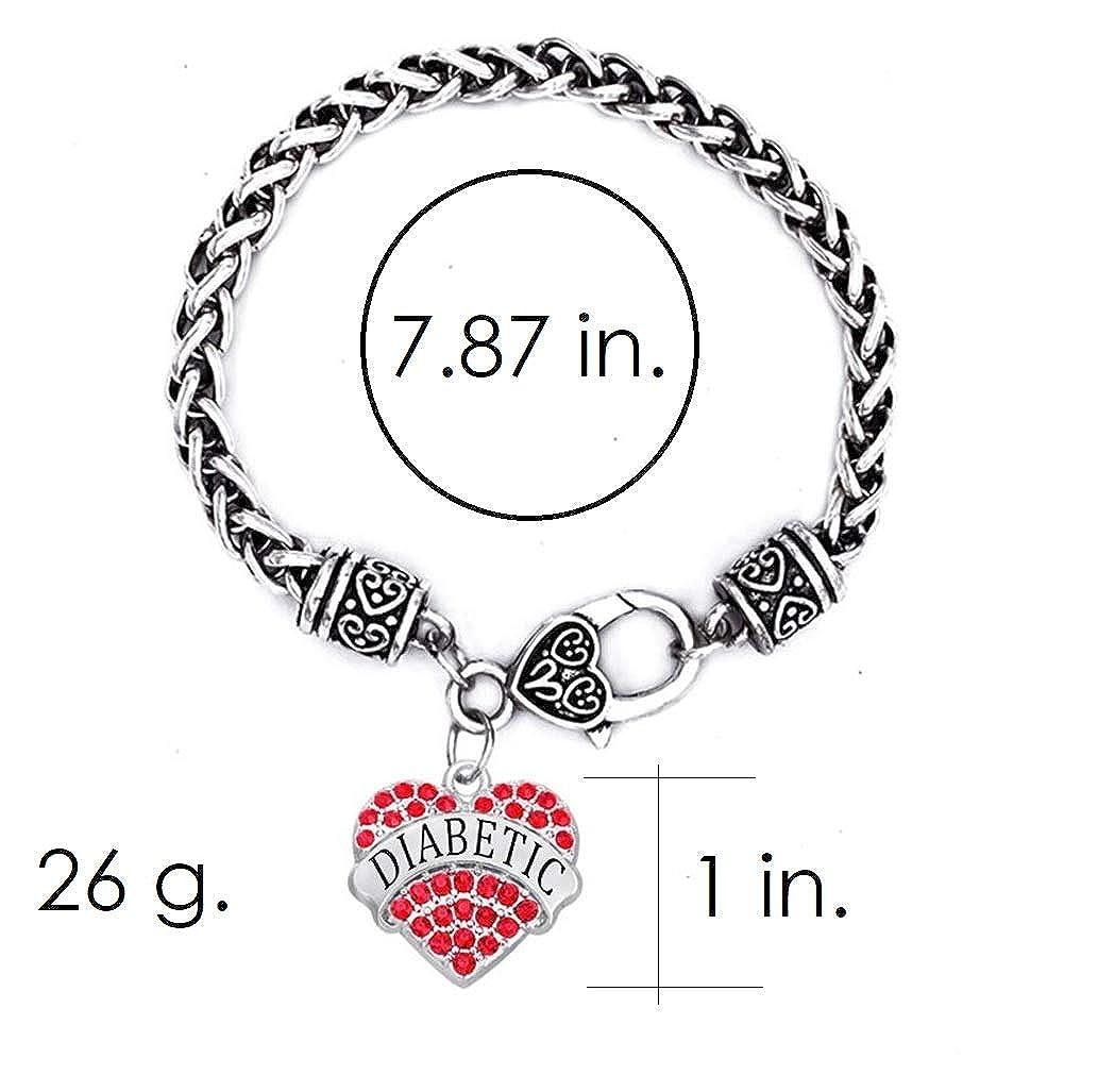 IDmed Diabetic Medical Alert Bracelet for Women White Rose Red Geen Blue Rhinestone Heart Pendant 20)