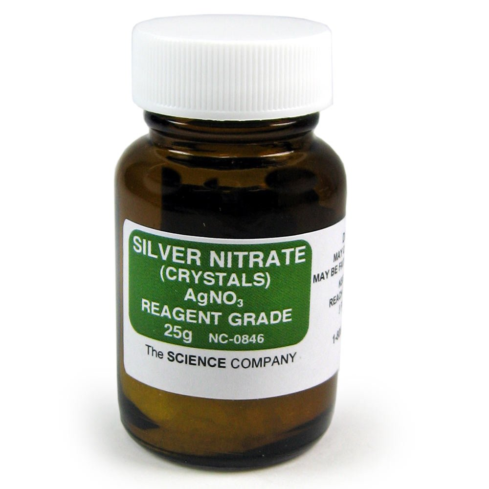 The Science Company Silver Nitrate Crystals, Reagent, 25g