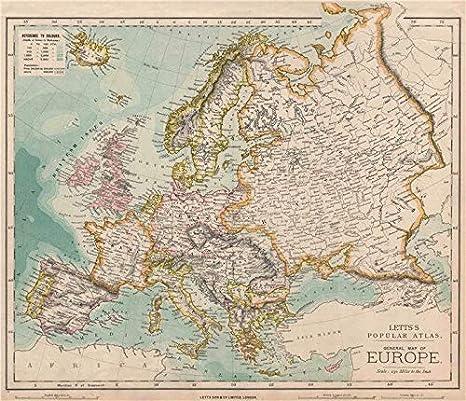 Mapa político de Europa. Alemania. AUSTRIA-HUNGARY. Letts – 1889 – Old Antiguo Mapa Vintage – Juego de funda nórdica Mapas de Europa: Amazon.es: Hogar