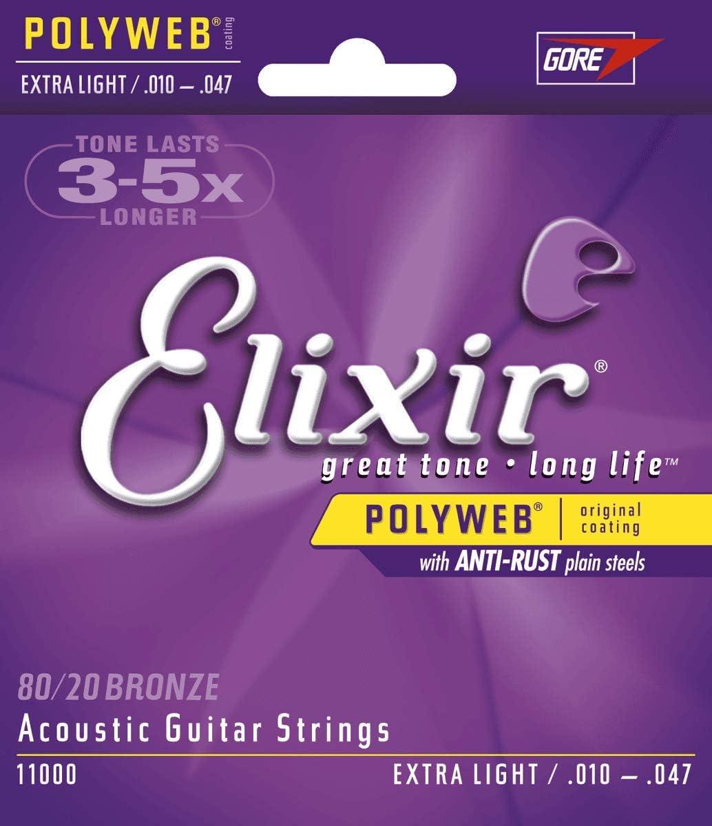 Cuerdas de guitarra acústica Elixir Strings de bronce en proporción 80/20 con recubrimiento POLYWEB, calibre extraligero (.010-.047)