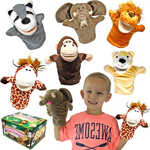 JOYIN Animal Friends Deluxe Kids Hand Puppets with Working Mouth (Pack of 6) for Imaginative -