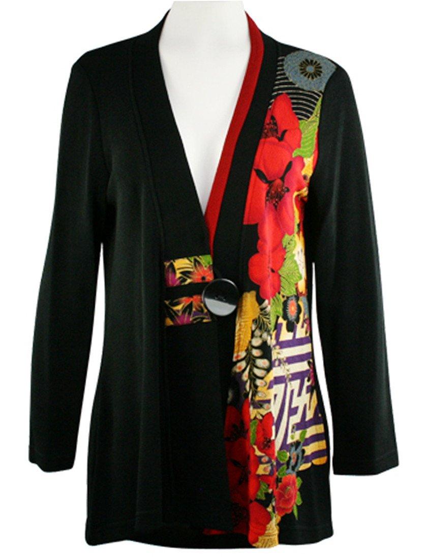 Moonlight - Three Flowers, Floral Print Long Sleeve V-Neck Asian Style Jacket