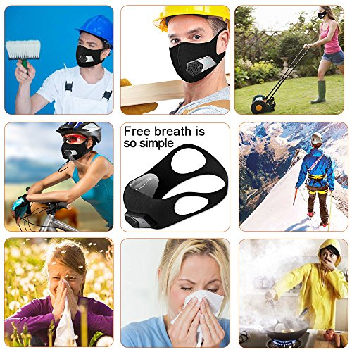 N95 Automatic Respirator Mask,Air Purifying Mask,Anti Pollution Mask For Pollen Allergy, Dust PM2.5, Running, Cycling and Outdoor Activities (Complete set, Black) by RSENR (Image #4)