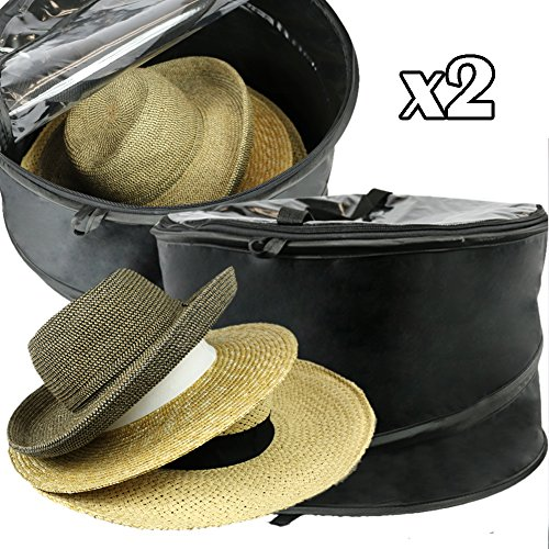 Premium Hat Pop-Up Bag [Dust Cover Organizer] Hat Stroage Travel Bag Round Hat Box, Set of 2