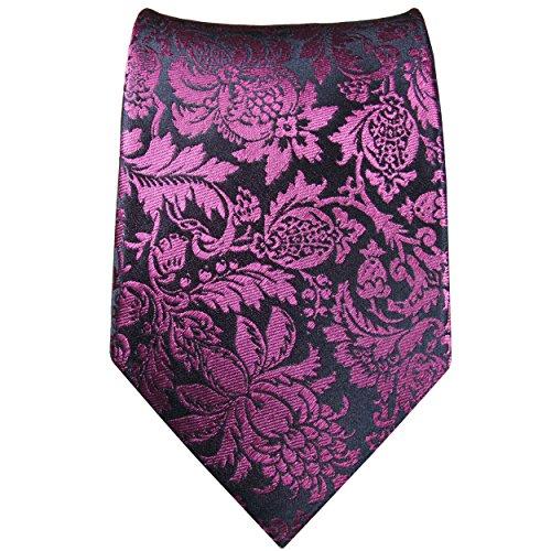 Cravate homme rose bleu fleurs ensemble de cravate 3 Pièces ( longueur 165cm )