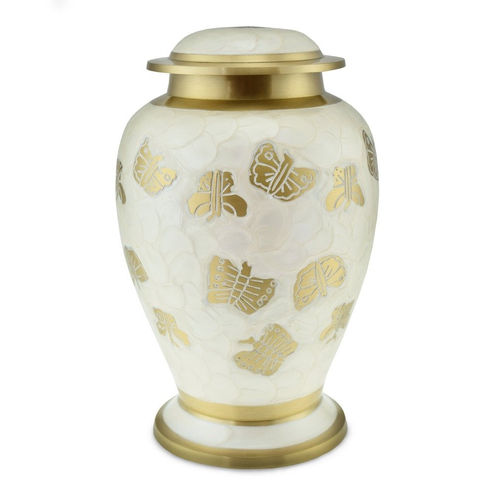 Cherished Urns Kaleidoscope White Pearl Butterfly Adult Cremation Urn for Ashes