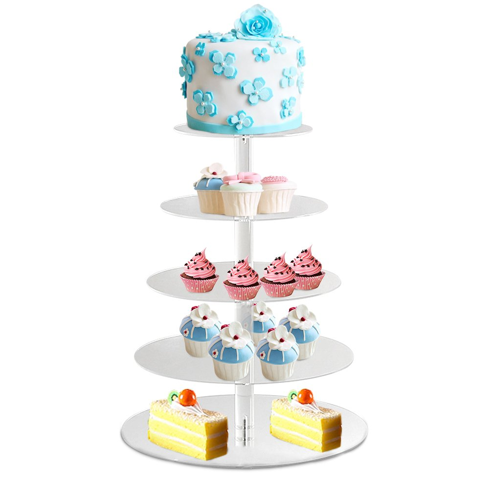 Amazon.com: Homdox 5-Tier Acrylic Cupcake Stand Round Tower Cupcake Display  Stand Food Display Stand for Wedding Party Birthday celebration  entertaining: ...