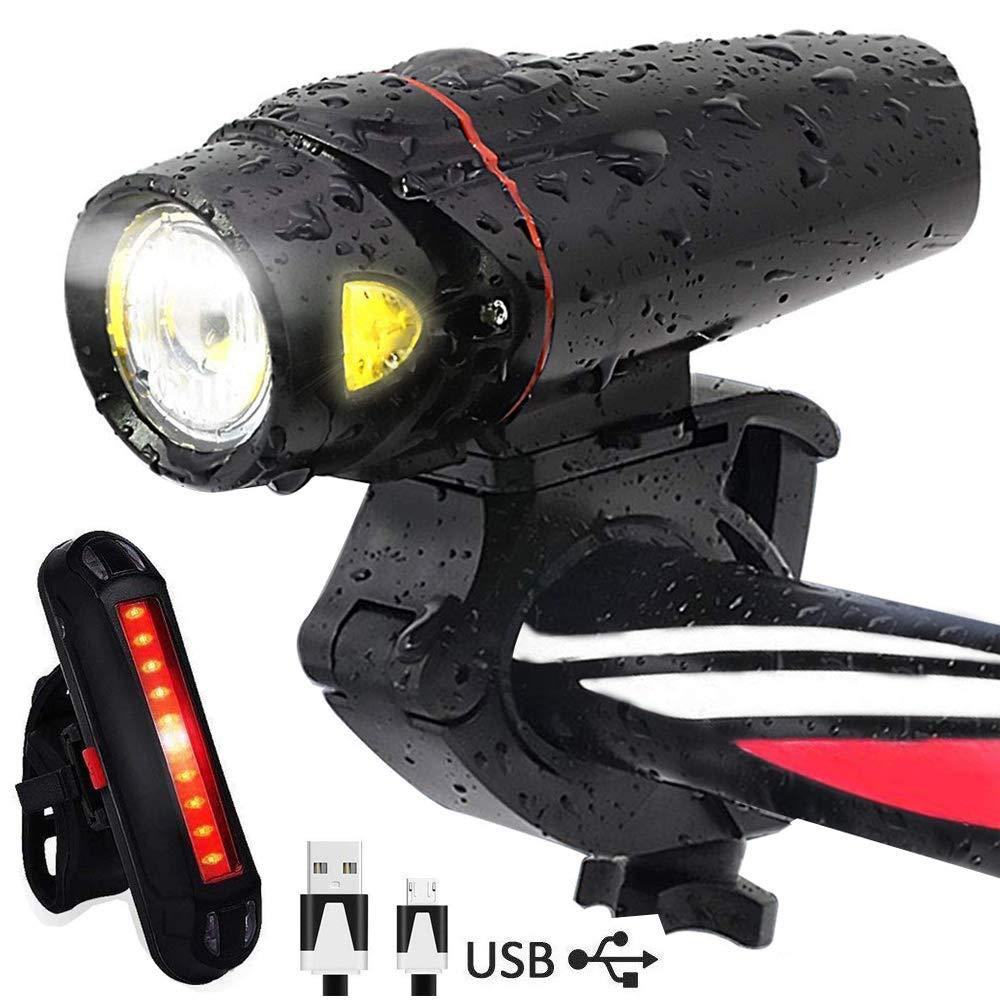AOMEES LED Smart Sensor Bike Lights, LED Bike Light set Torch Front Headlight & Tail Light USB Rechargeable