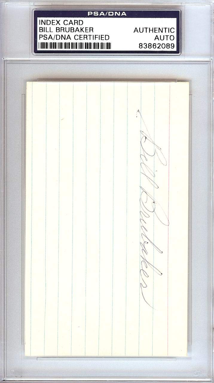 Bill Brubaker Autographed 3x5 Index Card Braves, Pirates #83862089 - PSA/DNA Certified - MLB Cut Signatures Mill Creek Sports