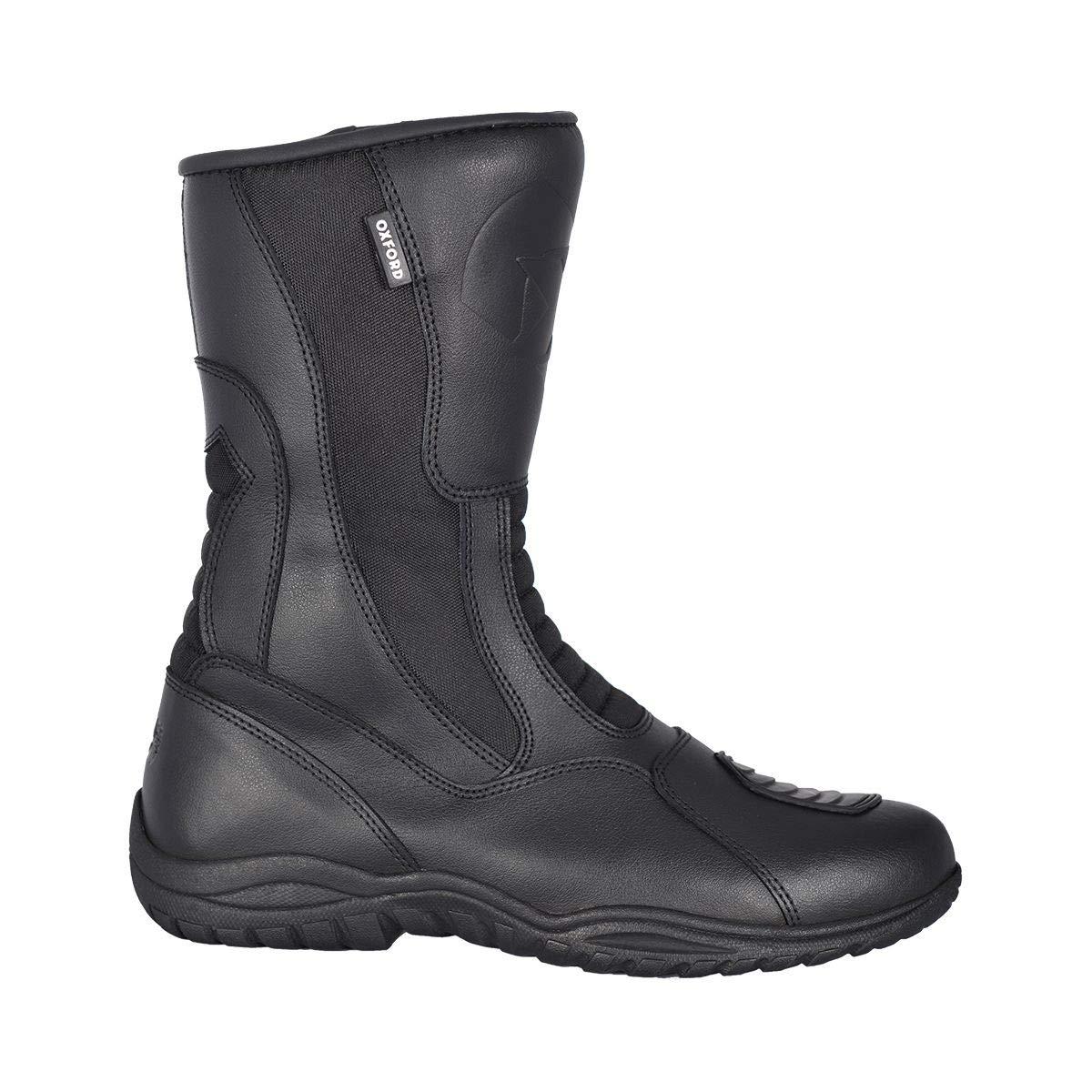 Black Oxford Tracker Waterproof Leather Motorbike Motorcycle Boots