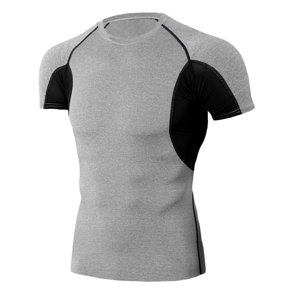 Camiseta De Compresi/ón De Manga Corta Hombre Entrenamiento Fitness Deportes Gimnasio Running