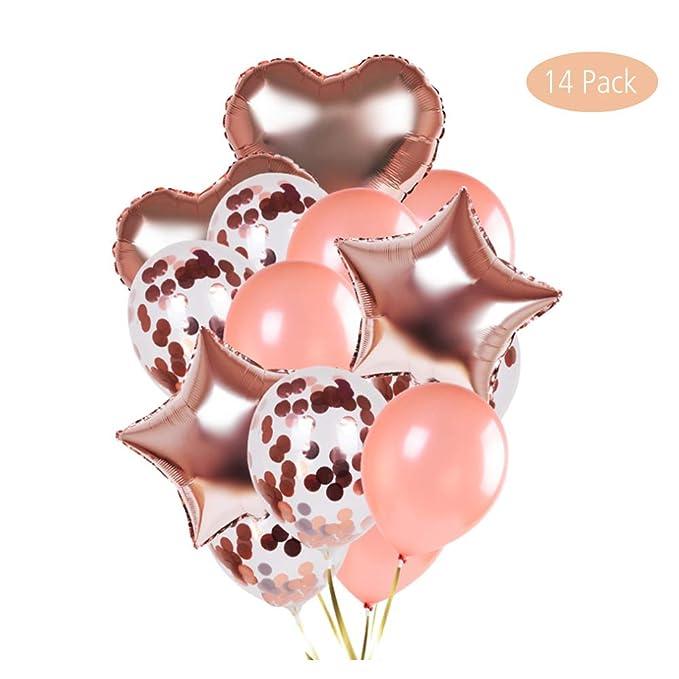 14Pack Juego de Globos de látex y Confeti Globos en Forma de corazón y Estrella para Bodas Decoración de Fiesta de cumpleaños duchas de Novia y bebé