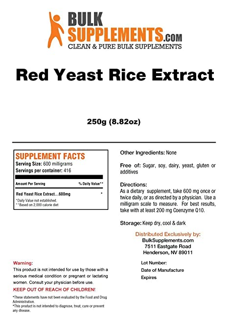 amazon com bulksupplements pure red yeast rice extract powder 250