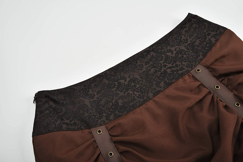 FLYFISH Womens Ruffle High Low Gothic Skirt Plus Size Long Vintage Steampunk Corset Skirt Long Dress Corset Skirt