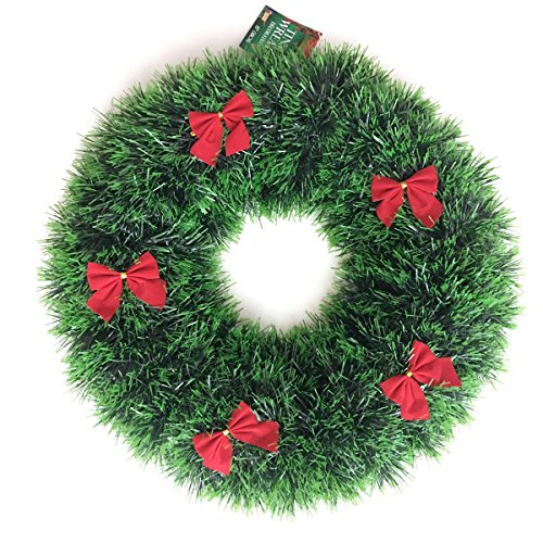 Green Tinsel Christmas Wreath with Red Bows Holiday Decoration, 15 (Tinsel Christmas Wreath)