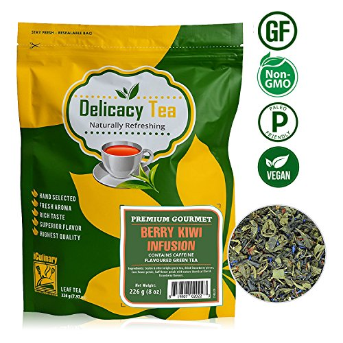 """Premium Grade Delicious 28 Day ULTIMATE CLEANSING DETOXIFYING All Natural Loose Leaf """"Berry Kiwi Infusion"""" Pure Ceylon Green Tea Blended with Kiwi, Strawberry & Safflower Petals, iCulinary Tea, 8oz (Ceylon Tea Blended Teas)"""