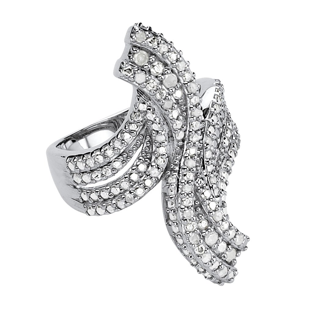 White Ice Diamond Platinum over .925 Sterling Silver Bypass Ring (.24 cttw, HI Color, I9 Clarity) Size 7
