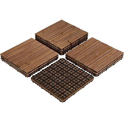 Yaheetech Deck Patio Pavers Tiles - 12PCS Interlocking Wood Composite  Decking Flooring Tiles Solid Wood and Plastic Corner Edging Trim Tiles  Indoor