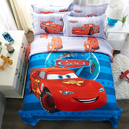 CASA 100% Cotton Kids Bedding Set Boys Lightning McQueen Duvet cover and Pillow cases and Fitted Sheet,4 Pieces,Queen