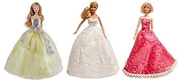 3 Barbie Prom Dresses, Ballroom Dresses, Wedding Dresses (3 Dress Set) -