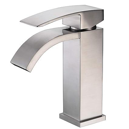 Amazon.com: Cascada baño llave del fregadero, Níquel pulido ...