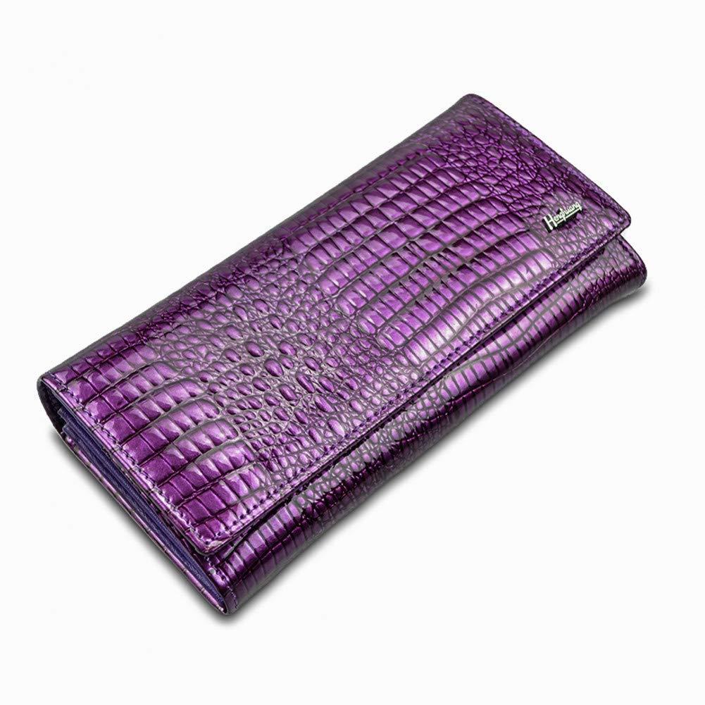 Purple GBDDD Women Wallets and Purses Luxury Brand Alligator Long Genuine Leather Ladies Clutch Coin Purse Female Crocodile Cow Wallet