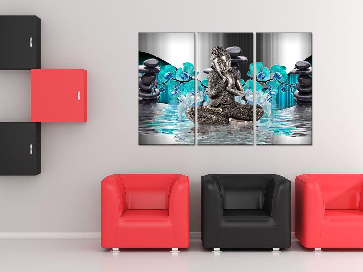 decoraci/ón de Pared de sal/ón Cuadro Impreso sobre Lienzo tr/íptico Zen Bienestar Azul Azul 120 x 80 cm Lona Cuadro Decorativo Cuadro Impreso Declina 90 x 60 cm
