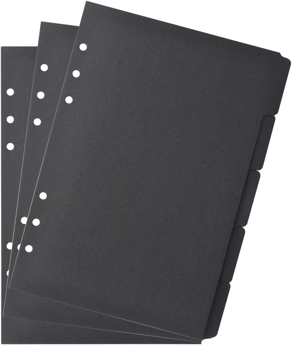 Bluecell 3 Sets Black Color Paper Divider Index Page Tab Cards for 6-Holes Ring Binders Notebooks Travel Diary Journal Planner (A5 Black)