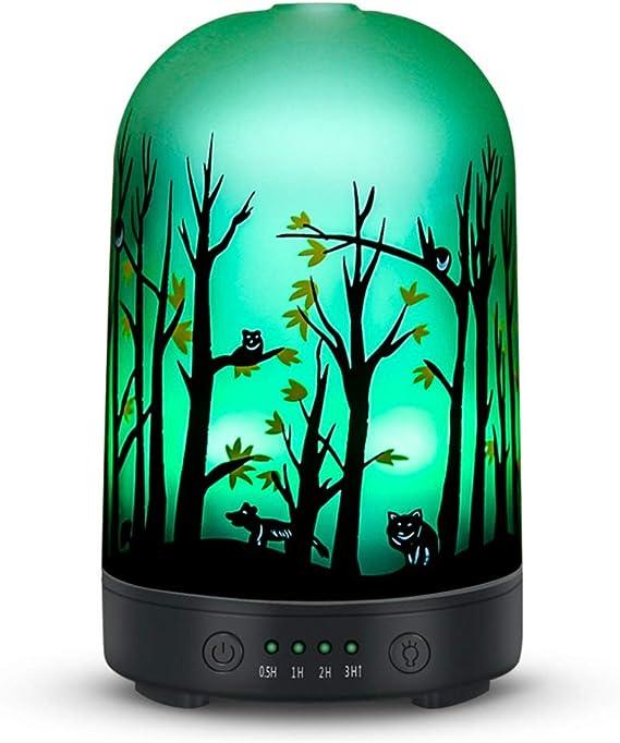 ホームオフィスのためのタイマー調整ミストモード付き森林柄エッセンシャルオイルディフューザー120ミリリットルガラスの超音波アロマディフューザー加湿器