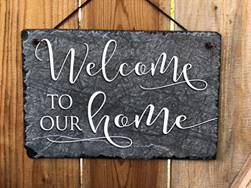 Welcome Personalized Slate - Sassy Squirrel Welcome Guests with This Beautifully Handcrafted Slate Home Name Plaque Personalized House Sign with and Hardware. Improve The Curb Appeal of Your Property (12