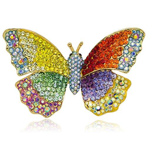 Multi Color Butterfly Brooch (Akianna Swarovski Element Butterfly Brooch Pin Pendant Multicolor)