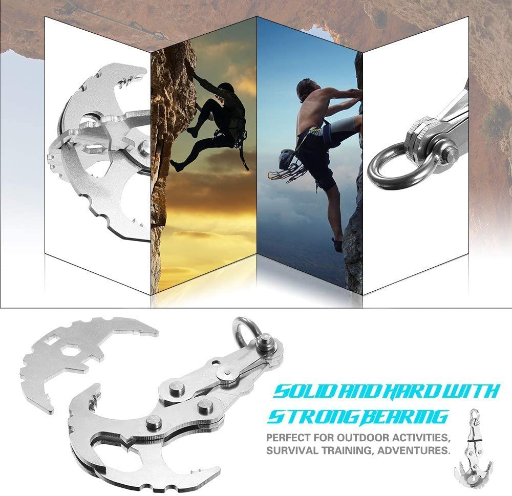 Joyshopping Stainless Steel Survival Folding Grappling Gravity Hook Carabiner Outdoor Foldable Climbing Claws