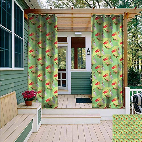 Grommet Outdoor Curtains,Food Fast Food Hamburger Beverage,Great for Living Rooms & Bedrooms,W72x84L from Beihai1Sun