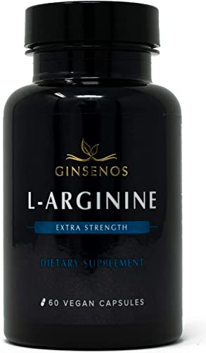L-Arginine – 60 Vegan Capsules – Extra Strength Pills – Improves Energy, Performance, Vascularity, Endurance, Libido – Vegetarian Base – Supports Nitric Oxide by Ginsenos