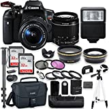 Canon EOS Rebel T6i DSLR Camera with Canon 18-55mm is STM Lens Kit + Battery Grip + 64GB Memory + Filters + Macros + Monopod + 50 Tripod + Professional DSLR Bundle