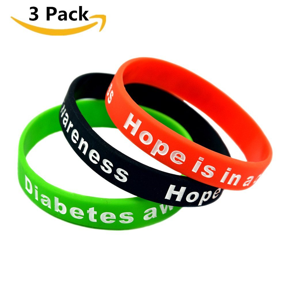 Comfybuy CF 2 3 Pack Adult's Type Diabetes Awareness Identification Bracelet Inspirational Silicone Hope Medical Alert Wristband Bangle for Outdoor Indoor Emergency,20cm,Black,Red,Green