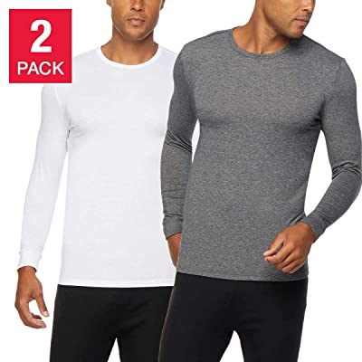 32 DEGREES Men's Heat Long Sleeve Scoop Neck Tee 2-Pack at Men's Clothing store