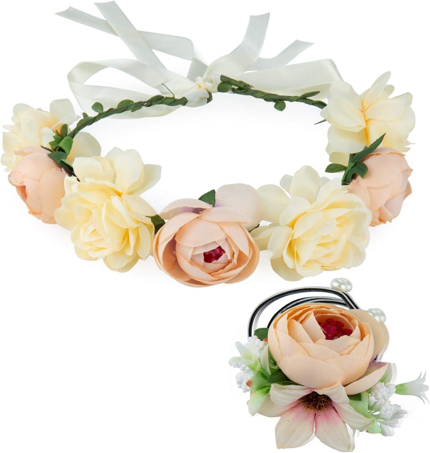 Ghirlanda Floreale per Compleanno Festa Danzante Matrimonio ZWOOS Corona di fiori e Braccialetto di fiori Bianco