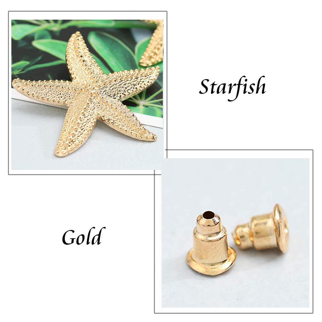 Gold Catery Large Starfish Earrings Star Earring Stud Fashion Ear Jewelry for Women and Girls Pack of 4