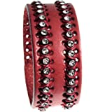 Brick Red Quality Leather Cuff Bracelet with Handsewn Sparkle Accents, Adjustable