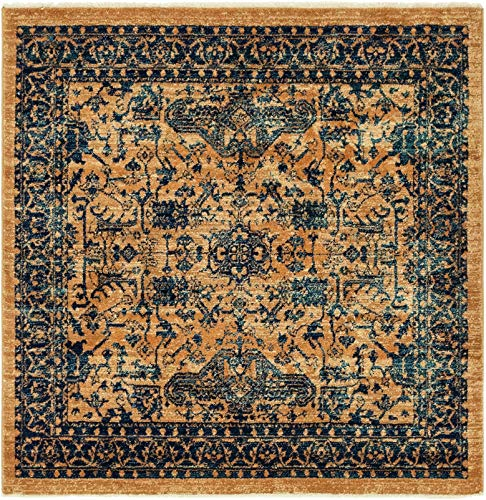 - A2Z Rug Vintage Traditional Modern Dorchester Collection Orange 4' 5 x 4' 5 Feet Square Luxury Area Rugs