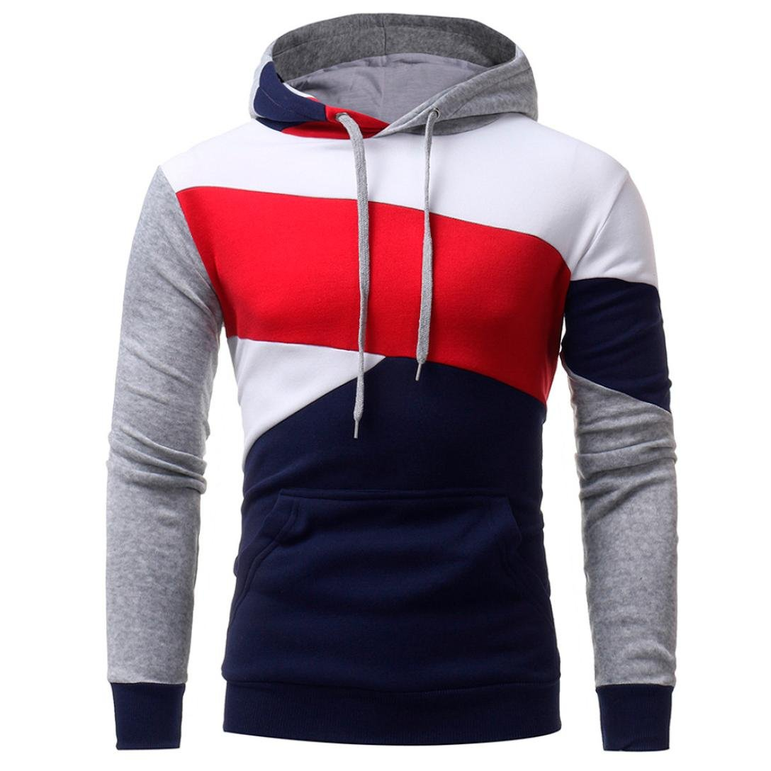 Mens Novelty Color Block Hoodies Cozy Sport Outwear, Mens' Long Sleeve Hooded Sweatshirt Tops Jacket Coat (Navy, XXL)