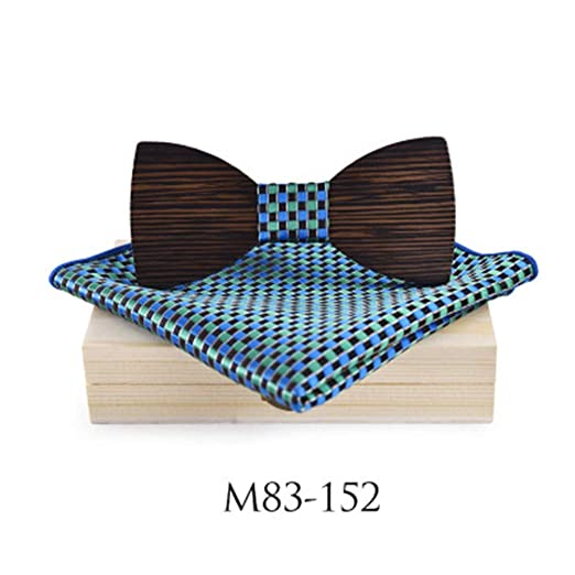 KQYAN-cravates et noeud papillon Servilleta de Madera para Hombre ...