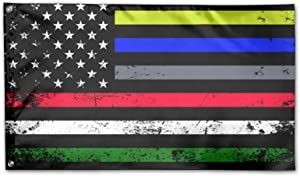 First Responder Paramedic Correctional Officer Military Police Fire Fighters Flag Yard Flags 3 X 5 in Indoor&Outdoor Decorative Home Fall Flags Holiday Decor