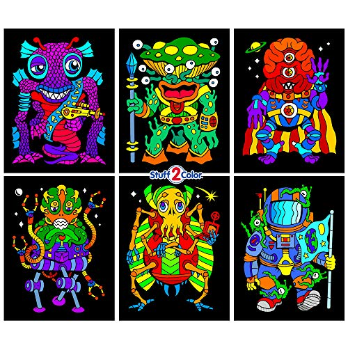 Stuff2Color Aliens 6-Pack of Fuzzy Velvet Coloring Posters -