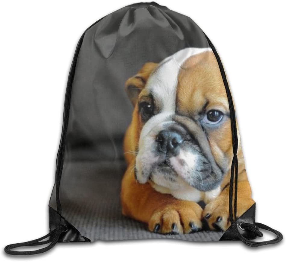 Bulldog Drawstring Backpack Rucksack Shoulder Bags Training Gym Sack For Man And Women
